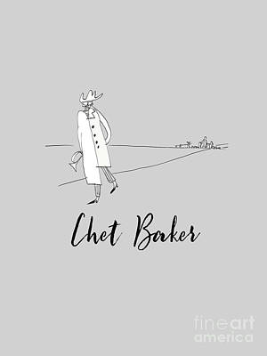 Recently Sold - Musicians Drawings Rights Managed Images - Tribute to Chet Baker Royalty-Free Image by BlackLineWhite Art