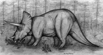 Drawings Royalty Free Images - Triceratops  Royalty-Free Image by Michael Panno