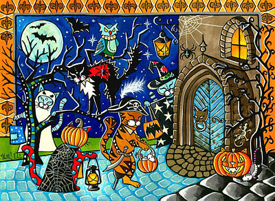 Painting - Trick Or Treat Halloween Cats by Dora Hathazi Mendes