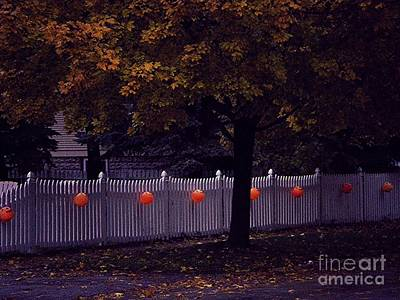 Frank J Casella Royalty-Free and Rights-Managed Images - Trick or Treat Trail Pumpkins White Picket Fence Autumn Tree by Frank J Casella