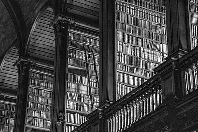 Photograph - Trinity College Library Black And White  by John McGraw