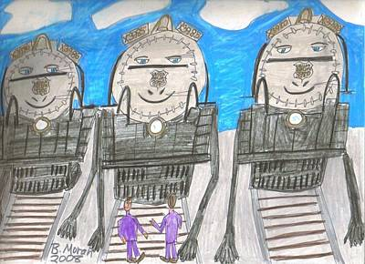 Drawing - Triplets by Barb Moran