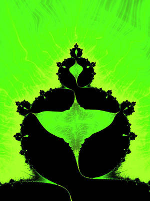 Royalty-Free and Rights-Managed Images - Trippy Mandelbrot Set green and black Fractal by Matthias Hauser