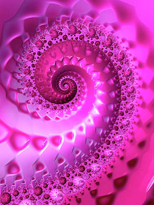 Royalty-Free and Rights-Managed Images - Trippy Pink Fractal Spiral by Matthias Hauser