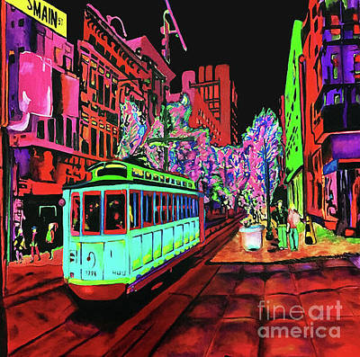 Painting - Trolley Night On Main by D Justin Johns