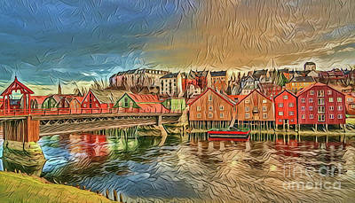 Painting - Trondheim Norway A18-45 by Ray Shrewsberry