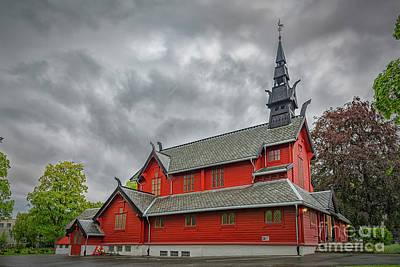 Valentines Day - Trondheim Tilfredshet Wooden Church by Antony McAulay