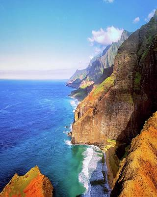 Art Print featuring the digital art Tropical Coastline Hawaii Aerial Photograph Of The Isolated Napali Coast by OLena Art Brand