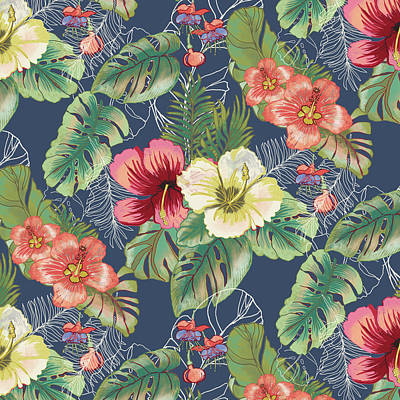 Florals Royalty-Free and Rights-Managed Images - Tropical Floral Pattern by Blenda Tyvoll