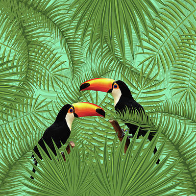 Mixed Media Royalty Free Images - Tropical Forest - Toucan birds - Tropical Palm Leaf Pattern - Leaf Pattern - Tropical Print 1 Royalty-Free Image by Studio Grafiikka
