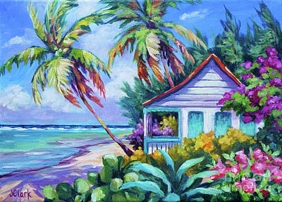 Beach Cottage Art Wall Art - Painting - Tropical Island Cottage by John Clark