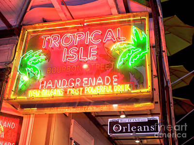 Photograph - Tropical Isle On Bourbon Street At Night New Orleans by John Rizzuto