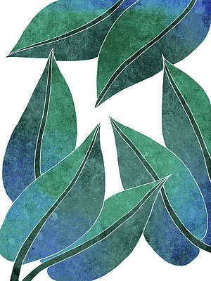 Royalty-Free and Rights-Managed Images - Tropical Leaf Illustration - Blue, Green - Botanical Art - Floral Design - Modern, Minimal Decor by Studio Grafiikka