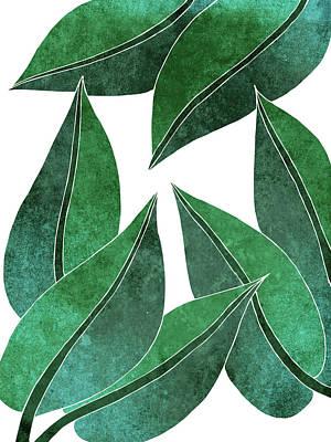Mixed Media - Tropical Leaf Illustration - Green - Botanical Art - Floral Design - Modern, Minimal Decor by Studio Grafiikka