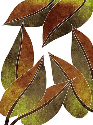 Royalty-Free and Rights-Managed Images - Tropical Leaf Illustration - Yellow, Brown - Botanical Art - Floral Design - Modern, Minimal Decor by Studio Grafiikka