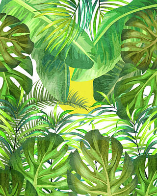 Royalty-Free and Rights-Managed Images - Tropical Leaf Pattern 01- Banana, Palm Leaf, Monstera Leaf - Green, Freshness, Tropical, Botanical by Studio Grafiikka