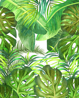 Royalty-Free and Rights-Managed Images - Tropical Leaf Pattern 02- Banana, Palm Leaf, Monstera Leaf - Green, Freshness, Tropical, Botanical by Studio Grafiikka