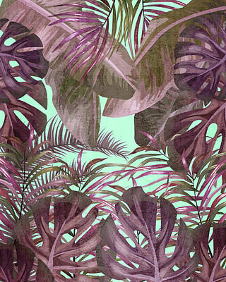Mixed Media Royalty Free Images - Tropical Leaf Pattern 03- Banana, Palm Leaf, Monstera Leaf - Purple, Freshness, Tropical, Botanical Royalty-Free Image by Studio Grafiikka