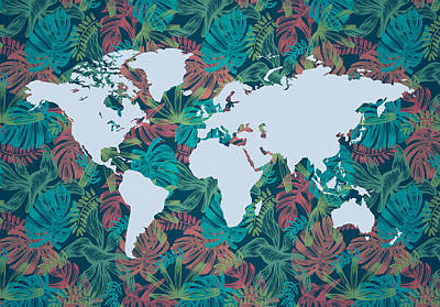 Digital Art - Tropical Map Of The World by Dalibor Hanzal