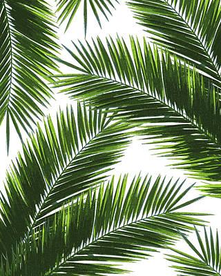 Mixed Media - Tropical Palm Leaf Pattern 1 - Tropical Wall Art - Summer Vibes - Modern, Minimal - Green by Studio Grafiikka