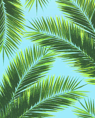 Mixed Media - Tropical Palm Leaf Pattern 2 - Tropical Wall Art - Summer Vibes - Modern, Minimal - Green, Blue by Studio Grafiikka