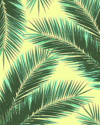 Royalty-Free and Rights-Managed Images - Tropical Palm Leaf Pattern 3 - Tropical Wall Art - Summer Vibes - Modern, Minimal - Green, Beige by Studio Grafiikka