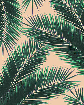 Royalty-Free and Rights-Managed Images - Tropical Palm Leaf Pattern 4 - Tropical Wall Art - Summer Vibes - Modern, Minimal - Green, Peach by Studio Grafiikka