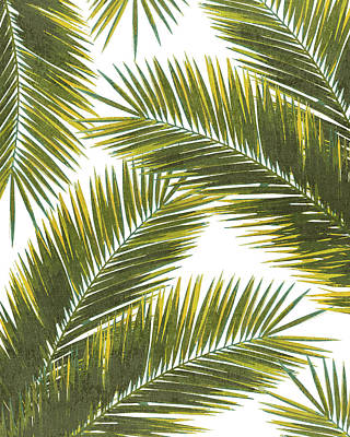 Royalty-Free and Rights-Managed Images - Tropical Palm Leaf Pattern 5 - Tropical Wall Art - Summer Vibes - Modern, Minimal - Green, Yellow by Studio Grafiikka