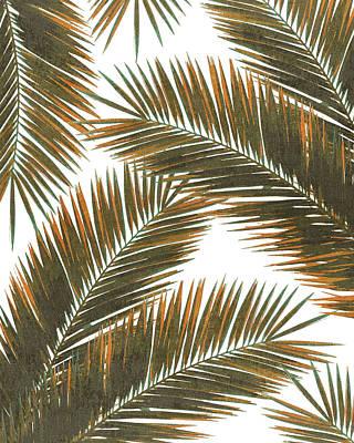 Mixed Media - Tropical Palm Leaf Pattern 6 - Tropical Wall Art - Summer Vibes - Modern, Minimal - Brown, Copper by Studio Grafiikka
