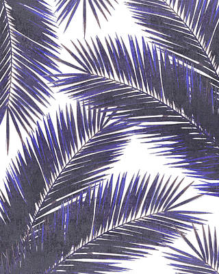 Royalty-Free and Rights-Managed Images - Tropical Palm Leaf Pattern 7 - Tropical Wall Art - Summer Vibes - Modern, Minimal - Purple, Violet by Studio Grafiikka