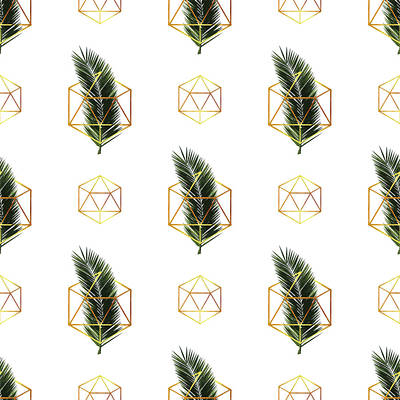 Mixed Media - Tropical Palm Leaf Pattern - Gold Geometric Pattern 1 - Tropical Wall Art - Palm Leaf And Gold by Studio Grafiikka