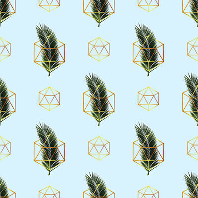 Royalty-Free and Rights-Managed Images - Tropical Palm Leaf Pattern - Gold Geometric Pattern 2 - Tropical Wall Art - Palm Leaf and Gold by Studio Grafiikka