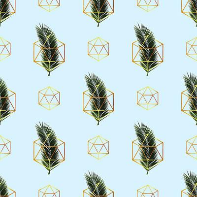 Mixed Media - Tropical Palm Leaf Pattern - Gold Geometric Pattern 2 - Tropical Wall Art - Palm Leaf And Gold by Studio Grafiikka