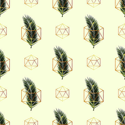 Royalty-Free and Rights-Managed Images - Tropical Palm Leaf Pattern - Gold Geometric Pattern 3 - Tropical Wall Art - Palm Leaf and Gold by Studio Grafiikka