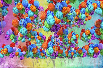 Surrealism Digital Art - Tropical Print Balloons by Betsy Knapp