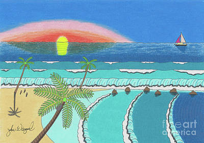 Drawing - Tropical Sunrise by John Wiegand