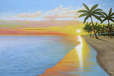 Painting - Tropical Sunset by Kenneth Kirsch