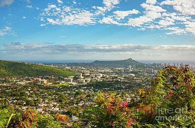 Photograph - Tropical View Of Honolulu And Diamond Head by Charmian Vistaunet
