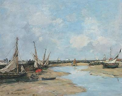 Sean Rights Managed Images - Trouville, the Jetties, Low Tide, 1888 Royalty-Free Image by Eugene Boudin