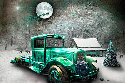 Photograph - Truck In Green On Christmas Eve  by Debra and Dave Vanderlaan