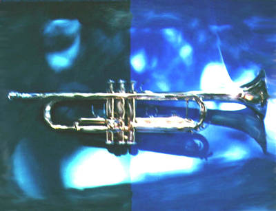 Photograph - Trumpet, Blue by Claire Rydell