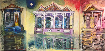 Painting - Tryptic On The Bayou New Orleans by Amzie Adams