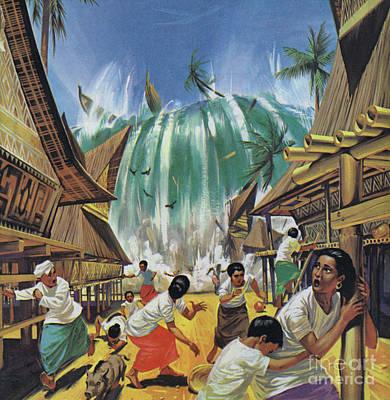 Painting - Tsunami Following Eruption Of Krakatoa by Angus McBride