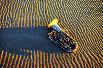 Tuba Wall Art - Photograph - Tuba On Sandy Beach At Twilight by Garry Gay