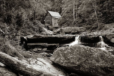 Photograph - Tucked Away - Sepia Glade Creek Mill by Gregory Ballos