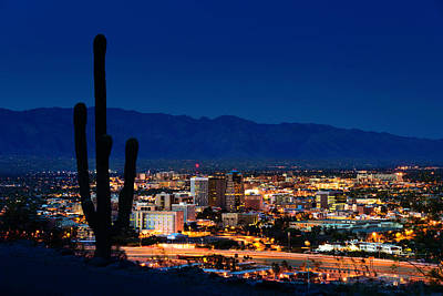 Photograph - Tucson Arizona At Night Framed By by Dszc