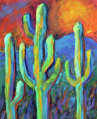 Wall Art - Painting - Tucson Saguaros by Theresa Paden