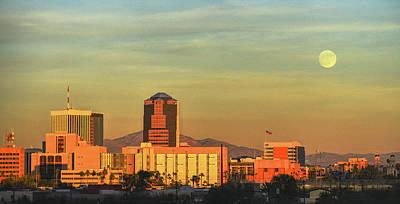 Rincon Mountains Wall Art - Photograph - Tucson Skyline And Moon by Chance Kafka