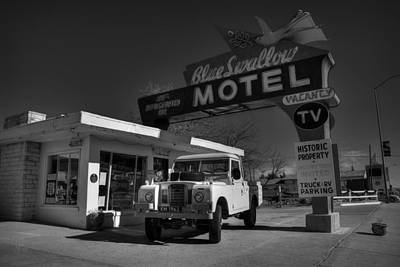 Photograph - Tucumcari - Blue Swallow Motel 001 Bw by Lance Vaughn