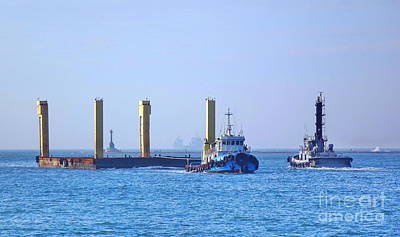 Photograph - Tugboat Pulls Large Load Into Kaohsiung Port by Yali Shi